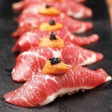 雲丹と三角バラのふろしき寿司